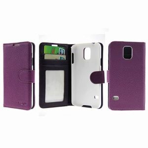 Fashion Wallet Case with ID Credit Card Slots for iPhone 5 / iPhone 5s - Purple
