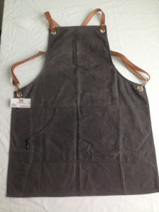 Custom Heavy Duty Waxed Canvas Apron Work Apron Withcriss-Back Genuine Leather Straps