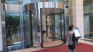 Automatic Revolving Door, Two Wings, with Built in Sliding Auto Door by Dunker Motor, pictures & photos