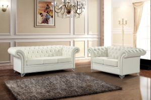 Modern Chesterfield White Leather Sofa