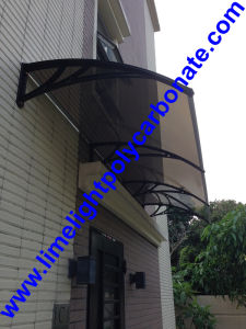 Black Bracket DIY Awning With Bronze Polycarbonate Solid Sheet, Door  Canopy, Window Awning,