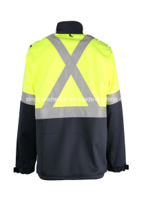 100% Polyester Soft Shell Coat Waterproof Hi Vis pictures & photos
