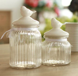 Ceramic Bird Lid Glass Storage Bottle (AM-15-01)