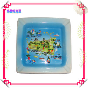 Ceramic Square Paintng Blue Cigar Ashtray for Promotion Gift