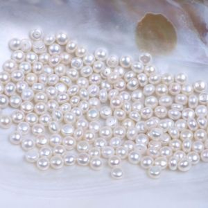 7-7.5mm Half Drilled Freshwater Pearl Button Shape for Earring Ring pictures & photos
