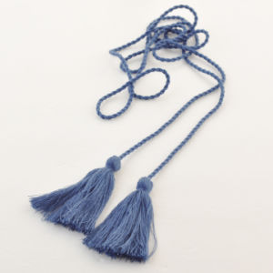 Wholesale New Design Blue Cotton Tassel with String for Garment