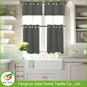 Polyester Window Tier Curtains Gray Kitchen Curtain Tiers