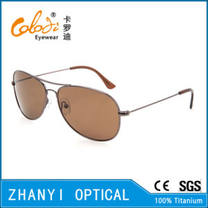 Latest Design Titanium Sun Glasses for Driving with Polaroid Lense (T3025-C4)