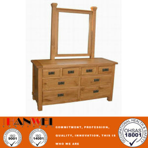 Oak Nature Color Wooden Vanity Make Up Dressing Table With Mirror