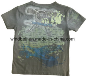 Cotton Single Jerey T-Shirt for Boy with Water Monkey Wash pictures & photos