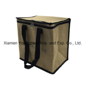 Promotional Custom Printed Large Reusable Insulated Jute Cooler Bag pictures & photos