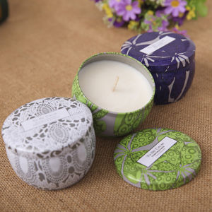 Luxury Printed Tin Scented Decorative Candle with Lid