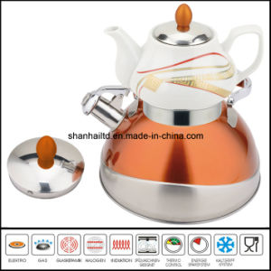 Turkey Style Stainless Steel Two-Layers Water Kettle/with Ceramic Tea Kettle Pot pictures & photos