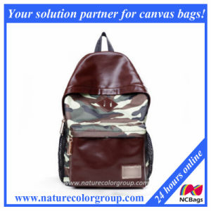 Camouflage Canvas and PU Leisure Backpack (SBB-016) pictures & photos