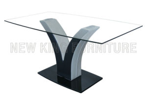 Modern Simple Design Temper Glass Top with Stainless Steel Foot Dining Table (NK-DT011)