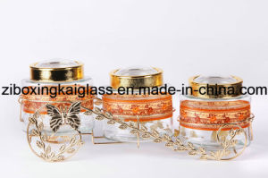 Glass Canister Set with Metal Rack