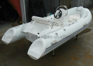 13.8ft Fiberglass Hull Rib Boat with CE Rigid Hull Inflatable Boat Outboard Motor Fishing Boat pictures & photos