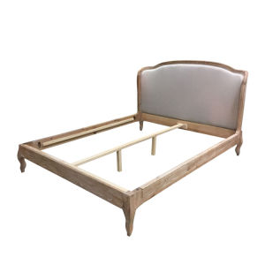 China Solid Wood Oak Upholstered Wooden Frame King Size Bed