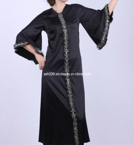 ceef32f9ee China Flounces Black Abaya Ladies Long Dress with Wide Sleeves for Muslim  Women - China Black Abaya, Ladies Long Dress