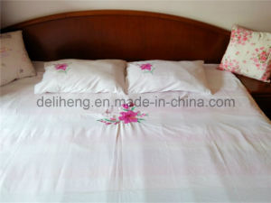 Lovely 100% Microfiber Polyester 3PCS Bleached White Embroidered Bed Sheets