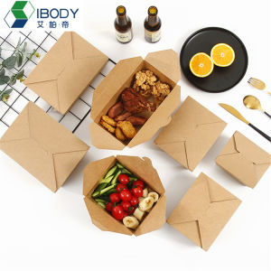 Disposable Brown Kraft Paper Packaging Salad Box Container Food Lunch Box with PE-Liner for Fast Food
