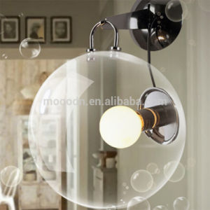 Modern Simple Style Round Bubble Clear Metal Glass and Wall Lamp Wall Light for Bedroom