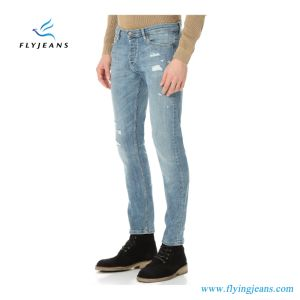 New Arrival 2017 Holes and Stonewashed Denim Skinny Men Jeans pictures & photos