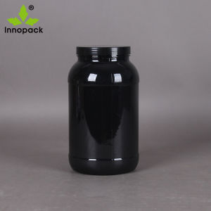 1kg Pet Food Grade Black Protein Powder Plastic Jar with Screw Lid pictures & photos
