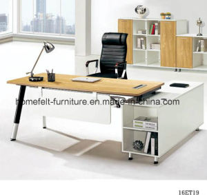 China Steel Legs Office Desk With File