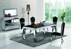 Modern Tempered Glass Or Wood Top Stainless Steel Dining Table