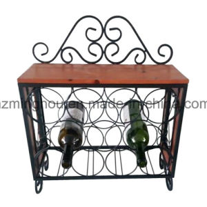 China Newest Wood And Metal Wall Mounted Wine Rack With Glass Rack
