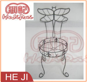 Wire Planter Stand with Dragon Fly Decorated