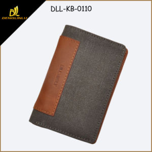 Mens Slim Wallet Top Leather +12 Oz Encryption Washed Canvas Mens Wallet (dark brown)