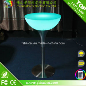 Night Club Entertainment Round LED Glow Top Poseur Bar Table