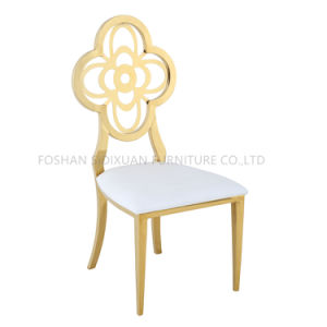 Modern Appearance and Hotel Furniture General Use Flower Back Stainless Steel Chair pictures & photos