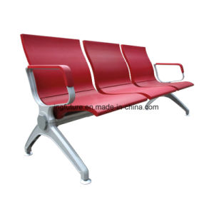 3-Seat Bright Red Leather Airport Chair