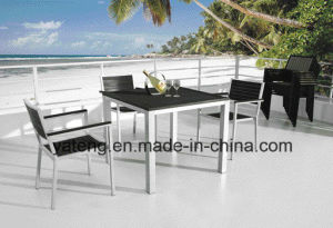 Outdoor Furniture Stackable Aluminum chair with PS-Wooden Armrest Chair (YTA387) pictures & photos