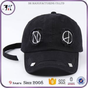 fa04dd4c Fancy Funny Pattern Black Distressed Baseball Dad Cap with Long Strap Tail