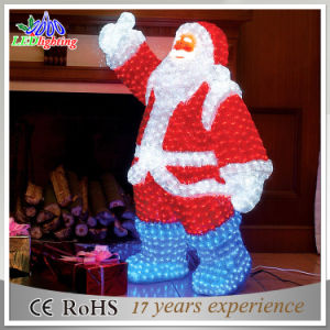 Outdoor Decoration 3D LED Christmas Acrylic Santa Claus Motif Light