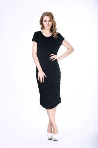 484865bfa73 Hot Sale Women Black Bodycon Dress Viscose Cotton Jersey Plain Black Dress