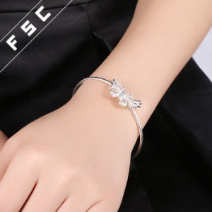 Womens Silver Plated Cubic Zirconia Butterfly Cuff Bracelet Bangle pictures & photos