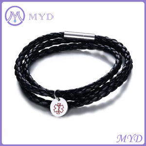 Genuine Leather Bracelet Stainless Steel Medical Alert Charms Mens Jewelry