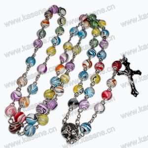Fashion 8mm Colourful Round Beads Christianity Necklace