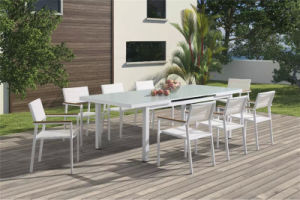 White Textilene Fabric Outdoor Chair and Table Set