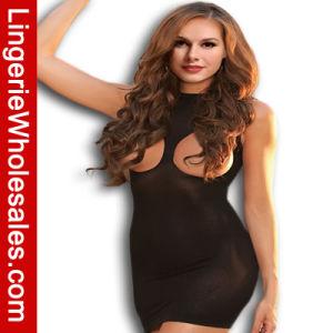 Women Black Exposed Open Breast Dress Sexy Lingerie