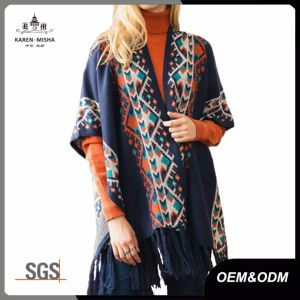 Ladies Fashion Shawl Poncho Cardigan Tassel Sweaters pictures & photos