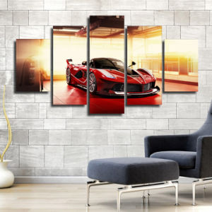 HD Printed Red Luxury Sports Car Painting Canvas Print Room Decor Print Poster Picture Canvas Mc-134 pictures & photos