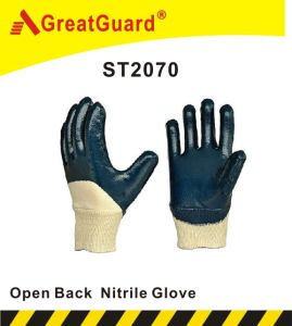 Cotton Jersey Nitrile Glove (ST2070) pictures & photos