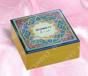 Beautiful Printing Pattern Lid Lacquered Wooden Box (HYW046)