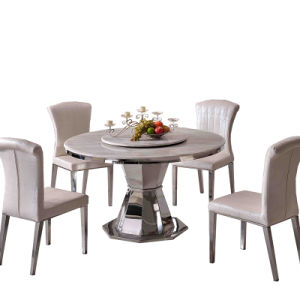 Cheap Latest Design Marble Round Rotary Dining Table Stainless Steel